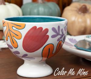 Glen Mills Floral Pedestal Bowl